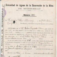 Manuscritos antigos: 1924 MONSERRAT VALENCIA. DOCUMENTO MANUSCRITO COMUNIDAD DE AGUAS DE LA EXCAVACION DE LA MINA. Lote 27060597
