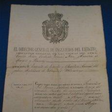 Manuscritos antiguos: LICENCIA MILITARIA SIGLO XIX.. Lote 13566287
