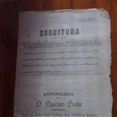 Manuscritos antiguos: ESCRITURA DE CAPITULOS MATRIMONIALES. BARCELONA. 1896. *. Lote 11109521