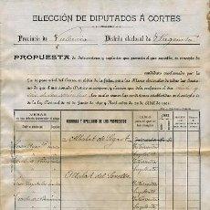 Manuscritos antiguos: DOCUMENTO SAGUNTO , ELECCIONES DIPUTADOS A LAS CORTES, 1901 , DE TODA LA COMARCA, VARIAS HOJAS.. Lote 25579662