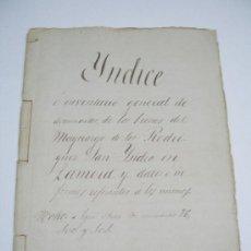 Manuscritos antiguos: MANUSCRITO S. XV. BIENES DEL MAYORAZGO DE LOS RODRIGUEZ SAN ISIDRO EN ZAMORA (S. XV A XIX). Lote 26485791