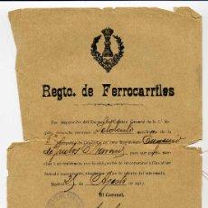 Manuscritos antiguos: CONCESION DE PERMISO - REGTO. DE FERROCARRILES. AÑO 1917. Lote 26739829