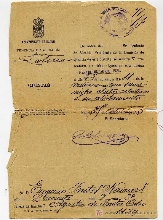 DATOS DE ALISTAMIENTO DEL AYUNTAMIENTO DE MADRID AÑO 1916 - TENENCIA DE ALCALDIA DISTRITO LA LATINA (Coleccionismo - Documentos - Manuscritos)