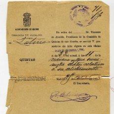 Manuscritos antiguos: DATOS DE ALISTAMIENTO DEL AYUNTAMIENTO DE MADRID AÑO 1916 - TENENCIA DE ALCALDIA DISTRITO LA LATINA. Lote 26739830