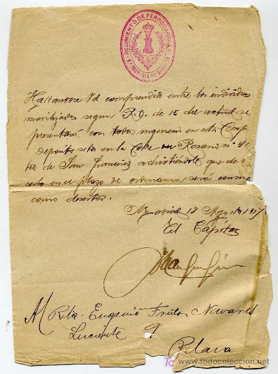 CITACION PARA INCORPORARSE AL EJERCITO - AÑO 1917 - REGIMIENTO DE FERROCARRILES 8ª COMPAÑIA DE DEPOS (Coleccionismo - Documentos - Manuscritos)