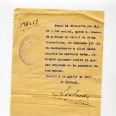 Manuscritos antiguos: COMUNICACION EXCEDENTE DE CUPO - AÑO 1917 - REGIMIENTO DE FERROCARRILES 8ª COMPAÑIA DE DEPOS. Lote 26949140