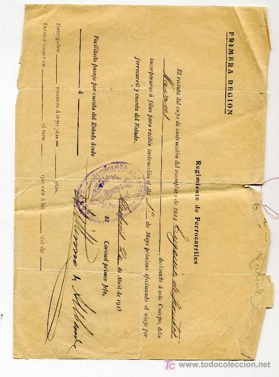 RECLUTA REEMPLAZO- AÑO 1915 - REGIMIENTO DE FERROCARRILES (Coleccionismo - Documentos - Manuscritos)