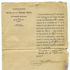 Manuscritos antiguos: CARTA DE PAGO DE QUINIENTAS PESETAS 1º PLAZO DE CUOTA MILITAR - TROPAS DE LA PRIMERA REGION - GOBIER. Lote 26949142