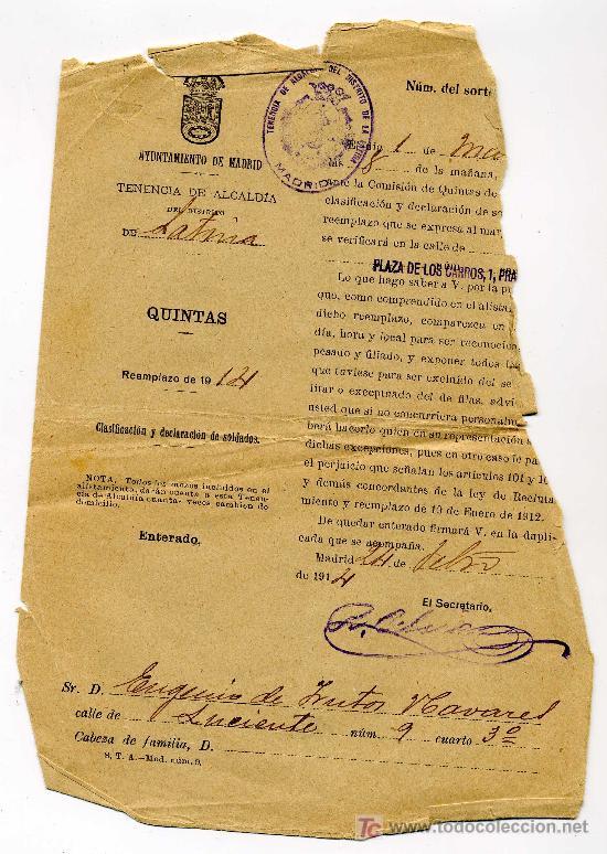 LLAMAMIENTO A QUINTAS DEL AYUNTAMIENTO DE MADRID AÑO 1914 (Coleccionismo - Documentos - Manuscritos)