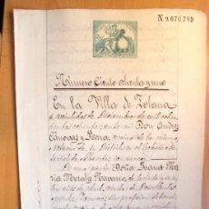 Manuscritos antiguos: SELLO 8º DOS PESETAS 1881 - ALFONSO XII - UN PLIEGO DE DOS HOJAS - FECHADO TOTANA (MURCIA). Lote 16539430
