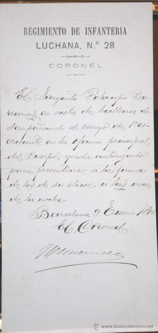 1896, BARCELONA, DOCUMENTO MILITAR CON MARCA DEL REGIMIENTO DE INFANTERÍA LUCHANA, Nº 28. (Coleccionismo - Documentos - Manuscritos)