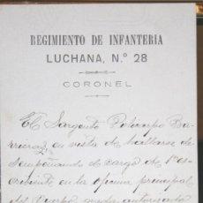 Manuscritos antiguos - 1896, BARCELONA, DOCUMENTO MILITAR CON MARCA DEL REGIMIENTO DE INFANTERÍA LUCHANA, Nº 28. - 26634519