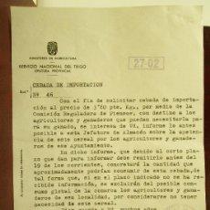 Manuscritos antiguos: CARTA SERVICIO NACIONAL DEL TRIGO, MINISTERIO DE AGRICULTURA, DE ARNEDO A LASANTA LA RIOJA . Lote 26604457
