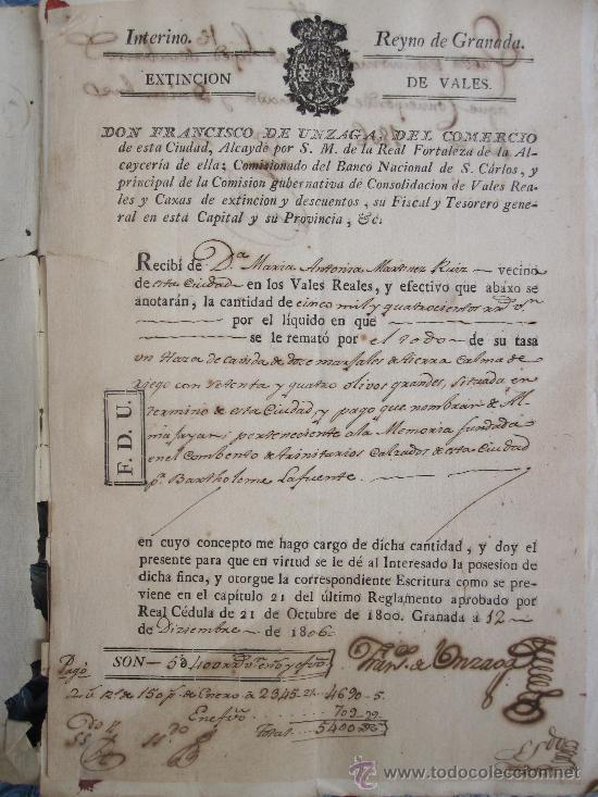 Manuscritos antiguos: GRANADA, 1.807. BONITA ESCRITURA DE VENTA DE TIERRA DE OLIVAR EN EL PAGO DE ALMAJAYAR - Foto 2 - 14949828