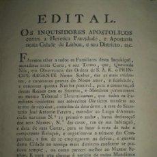 Manuscritos antiguos: INQUISICION. DOCUMENTO DE LA INQUISICION DE PORTUGAL AÑO 1808.. Lote 15842476