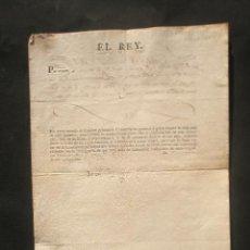 Manuscritos antiguos: FIRMA REAL DE FERNANDO VII AÑO 1818. CONCEDE RETIRO DEL SERVICIO A J.BERTRAN CON USO DE UNIFORME DE. Lote 20226104