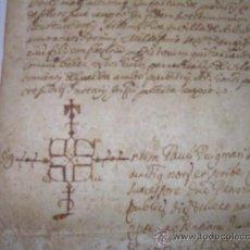Manuscritos antiguos: ANTIGUA ESCRITURA DE PERGAMINO AÑO 1.635 (GIRONA). Lote 26410787