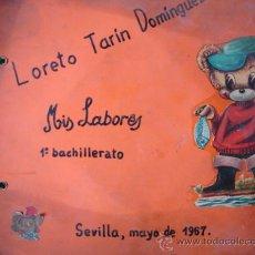 Manuscritos antiguos: MIS LABORES.1 DE BACHILLERATO 1967.LORETO TARIN DOMINGUEZ.8 TRABAJOS COSTURA,ESCUELA. Lote 26795606