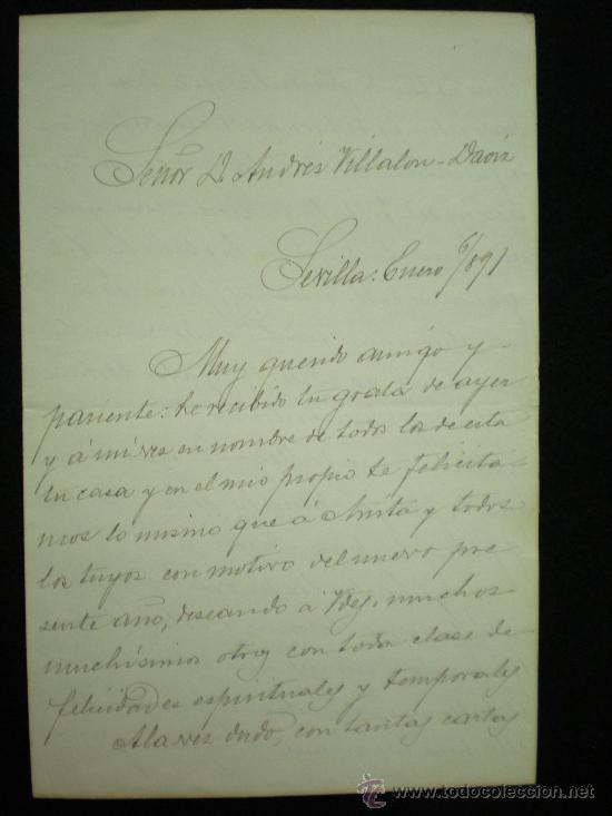 SEVILLA. 3 CARTAS MANUSCRITAS DE D. JOSÉ DÍEZ DE TEJADA A D. ANDRÉS VILLALÓN-DAOIZ. 1890-1891. (Coleccionismo - Documentos - Manuscritos)