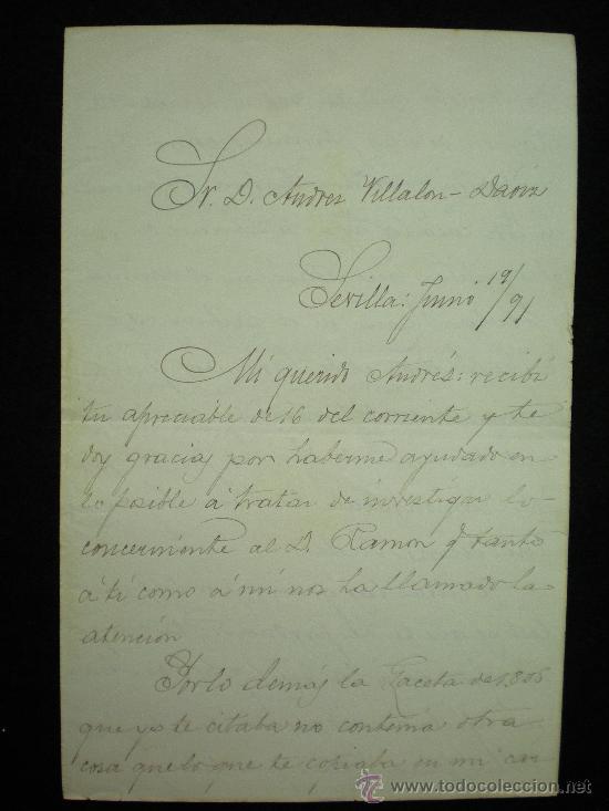 Manuscritos antiguos: Sevilla. 3 Cartas Manuscritas de D. José Díez de Tejada a D. Andrés Villalón-Daoiz. 1890-1891. - Foto 2 - 17935372