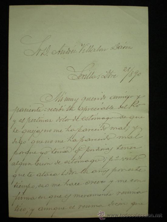 Manuscritos antiguos: Sevilla. 3 Cartas Manuscritas de D. José Díez de Tejada a D. Andrés Villalón-Daoiz. 1890-1891. - Foto 3 - 17935372