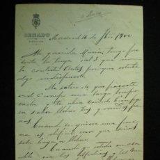 Manuscritos antiguos: CARTA MANUSCRITA. SENADO. CARTA PARTICULAR DE MANUEL G. LONGORIA. MADRID. 1900.. Lote 19278707