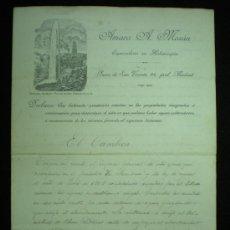 Manuscritos antiguos: DÍPTICO MANUSCRITO. AMARO A. MORÁN. ESPECIALISTA EN HIDROSCOPIA. INFORME. 1908.. Lote 19788645