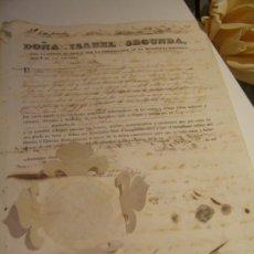 Manuscritos antiguos: ORIGINAL 1853 CARTA DE LA REINA ISABEL II SEGUNDA DE ESPAÑA CON SELLO REAL Y ESCUDO ORDENES A CUBA. Lote 26005481