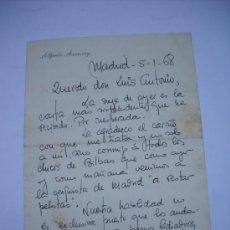 Manuscritos antiguos: CARTA MANUSCRITA DE ALFREDO AMESTOY DIRIGIDA AL ESCRITOR LUIS ANTONIO DE VEGA. 1 CUARTILLA. Lote 21231750
