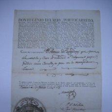 Manuscritos antiguos: MANUSCRITO:CONDE DE MONTIJO. CONCESIÓN DE PASAPORTE AÑO 1817 DADO EN GRANADA .ESCUDO GRABADO. Lote 27133180