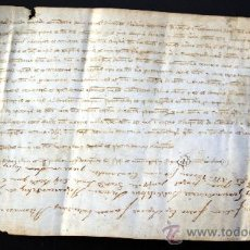 Manuscritos antiguos: DOCUMENTO MANUSCRITO EN PERGAMINO. Lote 27505733