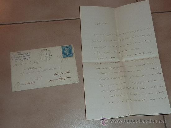 MUY RARA CARTA Y SOBRE DEL CONSEILLER IMPERIAL DE FRANCIA DE 1866. ESCRITA Y FIRMADA POR EL EN PARIS (Coleccionismo - Documentos - Manuscritos)