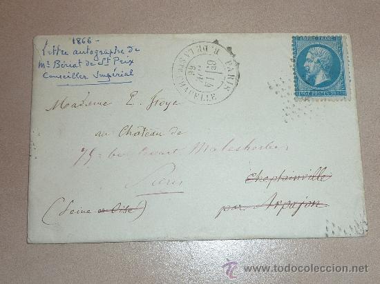 Manuscritos antiguos: Muy rara carta y sobre del Conseiller imperial de Francia de 1866. Escrita y firmada por el en Paris - Foto 2 - 26492322