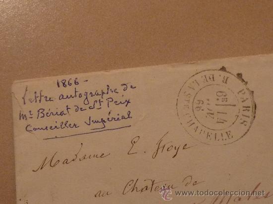 Manuscritos antiguos: Muy rara carta y sobre del Conseiller imperial de Francia de 1866. Escrita y firmada por el en Paris - Foto 3 - 26492322