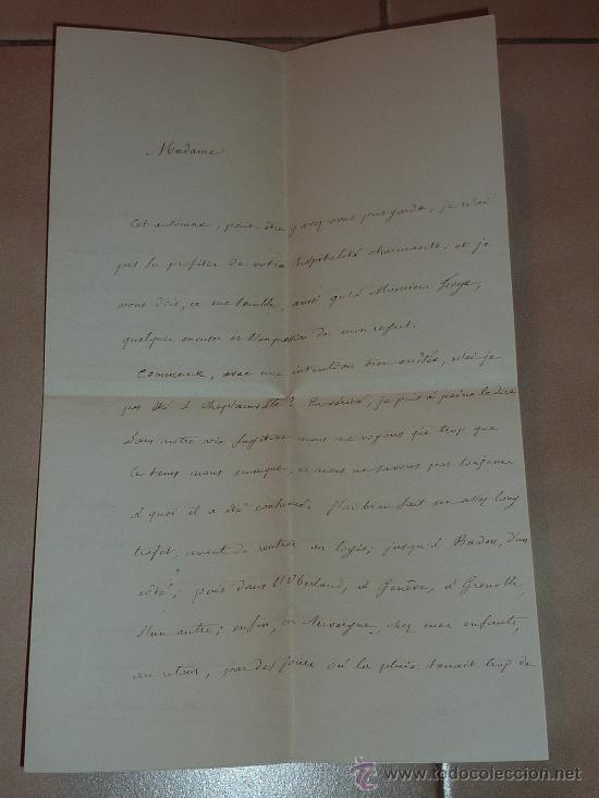 Manuscritos antiguos: Muy rara carta y sobre del Conseiller imperial de Francia de 1866. Escrita y firmada por el en Paris - Foto 5 - 26492322