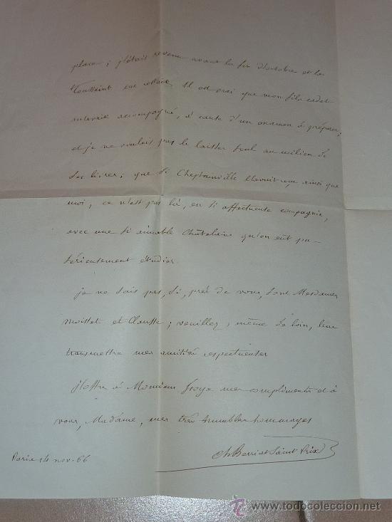 Manuscritos antiguos: Muy rara carta y sobre del Conseiller imperial de Francia de 1866. Escrita y firmada por el en Paris - Foto 6 - 26492322