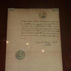 Manuscritos antiguos: DOCUMENTO EN CRISTAL DE 1857. DEL ALCALDE DEL PUEBLO DE CASTELLAR. CATALUNYA. MUCHOS SELLOS.. Lote 24249044
