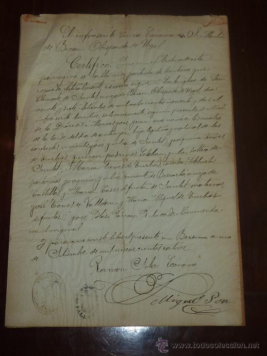 DOCUMENTO DE OBISPADO DE URGEL 1914. CON DOS SELLOS RELIGIOSOS... (Coleccionismo - Documentos - Manuscritos)