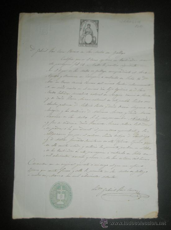 ZARAGOZA. CERTIFICADO DE BAUTISMO EN S.MATEO DE GALLEGO DEL NIÑO NAZARIO PARDO HIJO DE UN LABRADOR (Coleccionismo - Documentos - Manuscritos)