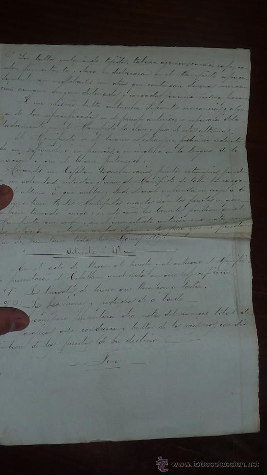 Manuscritos antiguos: Pareja de papeles de capitan de barco : bergantin español de 1879 Barcelona, muchos nombres... - Foto 7 - 27378780