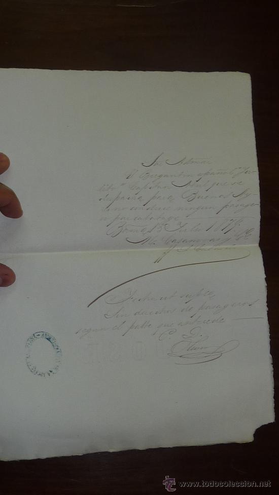 Manuscritos antiguos: Pareja de papeles de capitan de barco : bergantin español de 1879 Barcelona, muchos nombres... - Foto 5 - 27378780