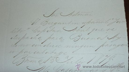 Manuscritos antiguos: Pareja de papeles de capitan de barco : bergantin español de 1879 Barcelona, muchos nombres... - Foto 3 - 27378780