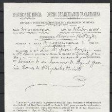 Manuscritos antiguos: A256-DOCUMENTO AÑO 1876 MURCIA FUENTE ALAMO CARTAGENA MURCIA EN . Lote 26165183