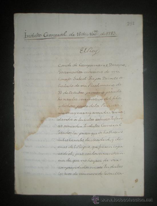 MANUSCRITO INDULTO GENERAL POR EL REY AÑO 1783 POR EL FELIZ PARTO DE SU NUERA DE 2 ROBUSTOS INFANTES (Coleccionismo - Documentos - Manuscritos)
