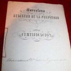 Manuscritos antiguos: CERTIFICACIÓN - REGISTRO DE LA PROPIEDAD - BARCELONA - AÑO 1871. Lote 26447273
