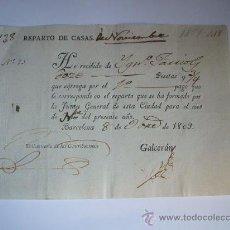 Manuscritos antiguos: 1809 - BARCELONA - HOJA DE CONTRIBUCIÓN . Lote 27316604