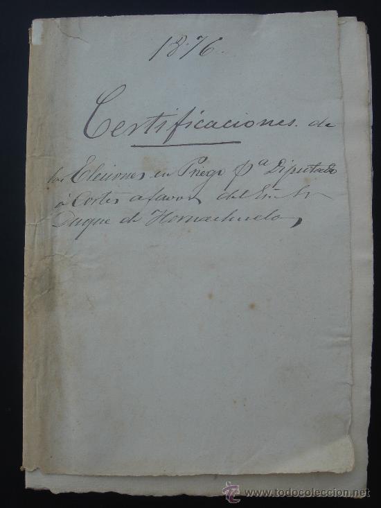 CERTIFICACIÓN DE ELECCIONES DIPUTADOS A CORTES. CARCABUEY (PRIEGO) 23-I-1876. DIM.- 32X22,5 CMS. (Coleccionismo - Documentos - Manuscritos)