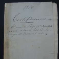 Manuscritos antiguos: CERTIFICACIÓN DE ELECCIONES DIPUTADOS A CORTES. CARCABUEY (PRIEGO) 23-I-1876. DIM.- 32X22,5 CMS.. Lote 28538622