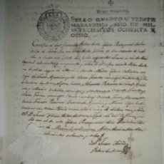 Manuscritos antiguos: MANUSCRITO 1788 CON SELLO DE PLACA FIRMA DEL ESCRIBANO POLOP PARA EL MATRIMONIO V.APARICIO A. PRATS. Lote 28586119