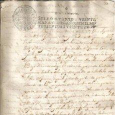 Manuscritos antiguos: 1722. DOCUMENTO MANUSCRITO TIMBRADO. PAPEL SELLADO FISCAL 4º. Lote 28614382